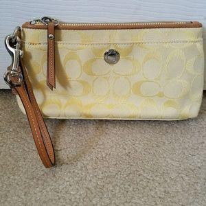 Coach Yellow Wristlet Wallet Canvas Leather Trim